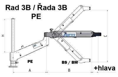 Ergonomické rameno 3ARM Řada 3 posuvné upínání