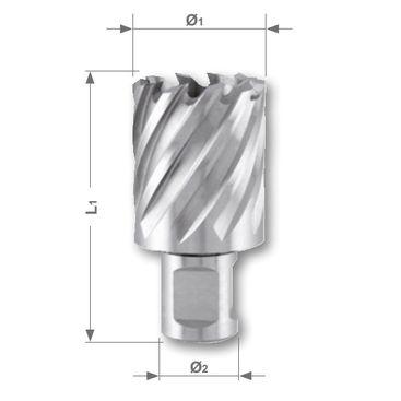 Jádrový vrták HSSE-Co 5 se stopkou Weldon, řezná hloubka 30 mm