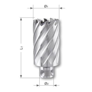 Jádrový vrták HSSE-Co 5 se stopkou Qucik IN, řezná hloubka 35 mm