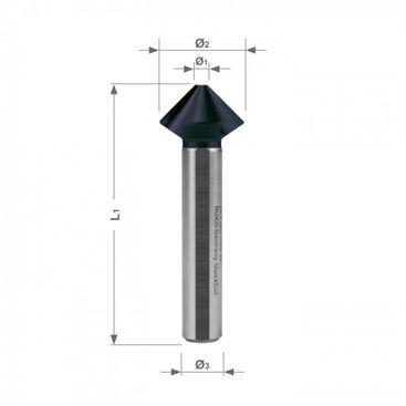 """""""QUICKCuT"""" Kuželový a odhrotovací záhlubník HSS-TiAlN, DIN 335 tvar C, 90°"""