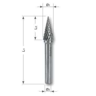 Rotační pilník, tvar M Špičatý kužel - SKM, CT 4